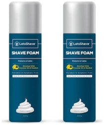 LetsShave Shave Foam Sensitive Skin Protection with Coconut Oil and Menthol, Paraben and Sulphate Free | Rust-Proof Aluminium Bottle - 200 g Each, Pack of 2 (2-Count)