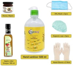 Nutriorg Safety Combo -1 Sanitizer 500ml And 1 Apple Cider Vinegar 100ml And Honey 50g And 3 Ply Mask X 5 Pieces And Gloves X 5 Pair And Head Caps x 5 Pieces (Pack of 18)