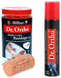 Dr Ortho (Crepe Bandage 10Cm X 4Mt. + Spray 75 ml) Pain Relief Combo