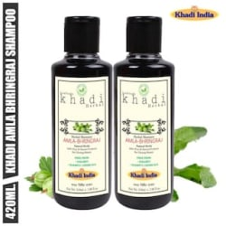 Leafveda Khadi Amla & Bhringraj Herbal Shampoo 210 ml (Pack of 2)