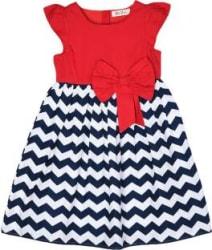 Bella Moda Girls Midi/Knee Length Casual Dress Multicolor, Cap Sleeve