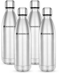 Wonderchef Hydro-Bot single wall 1000 ml Bottle Pack of 4, Silver
