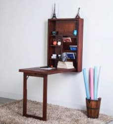 Balaji Solid Wood Study Table Wall Mounted, Finish Color - Teak