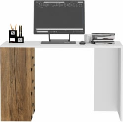 Klaxon Engineered Wood Study Table Free Standing, Finish Color - Rustic & White
