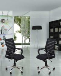 DZYN Furnitures Linen Office Executive Chair Black, Set of 2