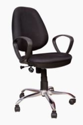 Rajpura 802 Cushioned Medium Back Revolving Chair with push back mechanism in Black Fabric Office Executive Chair Black