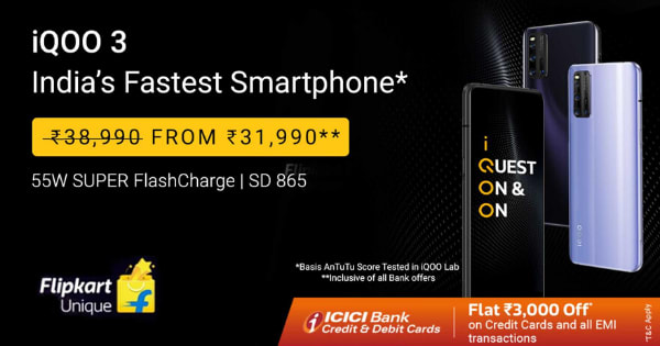 From Rs.31,990 IQOO 3 Mobile