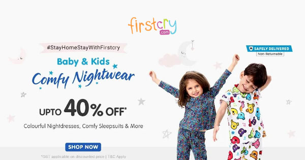 Up to 40% off on Kids Nightwear & Baby Night Suits