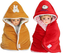 My New Born Cartoon Crib Hooded Baby Blanket Polyester, Red, Beige