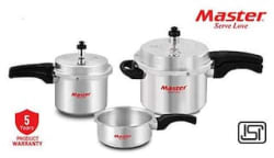 Master Family Aluminium Pressure Cooker Combo (Set of 5L cooker with Lid 3L cooker and 2L Pan) (ISI Marked)