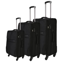 Nasher Miles Brunei Soft-Sided Polyester Luggage Set of 3 Black Trolley Bags (55, 65 & 75 cm)