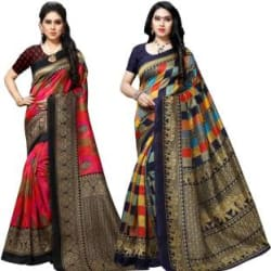 Anand Woven Bhagalpuri Silk Blend Saree Pack of 2, Multicolor