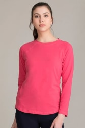Comfort Fit Active Full Sleeves T-Shirt in Pink - Cotton