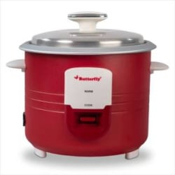 Butterfly Wave Electric Rice Cooker with Steaming Feature 1.8 L, Red