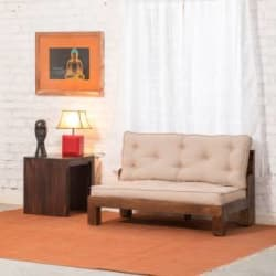 The Jaipur Living Wooden Vogue Fabric 2 Seater Sofa Finish Color - Honey Brown