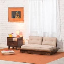 The Jaipur Living Wooden Tokyo Fabric 2 Seater Sofa(Finish Color - Honey Brown)