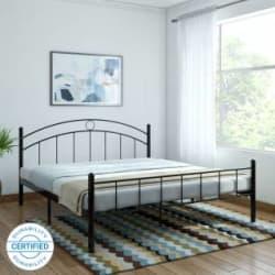 FurnitureKraft Nancy Metal King Bed Finish Color - Black