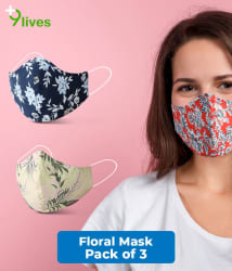 9lives 6 Layer Protection Comfortable Cotton Mask- (Reusable, Pack of 3)