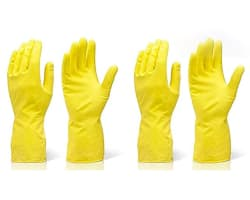 Fortane Reusable Rubber Cleaning Gloves Set | Hand Gloves Free Size for Washing, Cleaning Kitchen, Gardening Pair of (3) (Color May Vary)