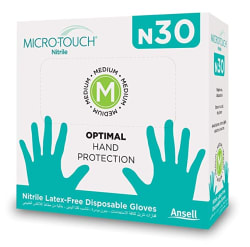 Ansell Micro Touch N30 Nitrile Multipurpose Gloves, Food Grade Approved, Oral Approved, Free From Latex Smell with No Latex Type I allergy - 30 Units (Medium) (Beware for similar N30 sold by others. Look for Ansell Microtouch Logo)