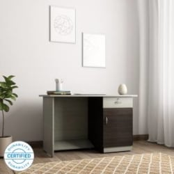 Crystal Furnitech Orion Engineered Wood Office Table Free Standing, Finish Color - Chocklate Sawline + sandy Sawline