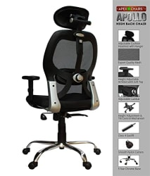 SAVYA HOME APEX Chairs Apollo Chrome Base High Back Office Chair Adjustable Arms (Black)