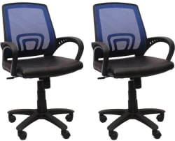 Flipkart Perfect Homes Fabric Office Arm Chair Blue, Set of 2
