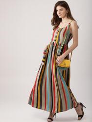 AKS Couture Women Multicoloured Striped Maxi Dress
