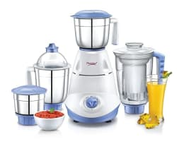 Prestige Iris Mixer Grinder, 750W, 3 Stainless Steel Jar + 1 Juicer Jar (White and Blue)