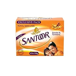 Santoor Sandal & Turmeric Soap for Total Skin Care, 150g (Pack of 4)