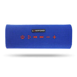 LUMIFORD Stereo Blue Log Wireless Bluetooth Speaker, Alexa Built-in voice control with 10 Watts Sound, IPX4 splash resistant and up to 14 hours playtime, true bass Diaphragm, voice chat control enabled(Blue)