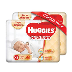Huggies Ultra Soft New Born Diapers Combo Pack of 2, 22 Counts Per Pack (44 Counts)