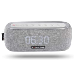 LUMIFORD 3-in-1 Digi Clock Wireless Stereo Bluetooth Speaker with built-in Alexa Voice Control, FM Radio, Dual Alarm Clock, Multiple Device connect, 10 watts Stereo with 20 hours playtime(Grey)