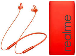 realme Buds Wireless in-Ear Bluetooth with mic (Orange) + Realme 10000mAH Power Bank (Red)