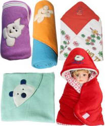 My New Born Cartoon Single Hooded Baby Blanket Polyester, Red