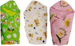 Fun baby new born baby wrapper cum blanket (Pack of 3)