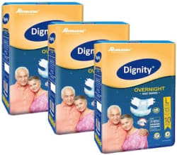 Dignity Overnight Adult Diapers Large (Waist Size 38- 54) 10 pcs Pack of 3