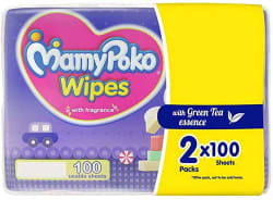 MamyPoko Wipes with Green Tea Essence - Pack of 100 * 2 Wipes with Fragrance (100 * 2=200 Wipes)