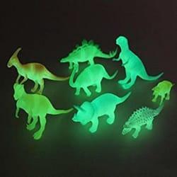 SUPER TOY Night Light Noctilucent Dinosaur Figure (Multicolour) - Set of 8