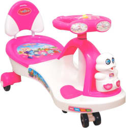 Her Home Funride Boost Musical with LED Lights Twist and Swing Magic Car Rideons & Wagons Non Battery Operated Ride On Pink