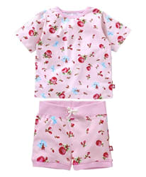 Nino Bambino Baby Girl s 100% Pure Organic Cotton Short Sleeve Round Neck Floral Printed Pink Top with Bottom for Night Wear,Pink,7-8 Years