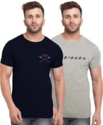 BULLMER Printed Men Round Neck Multicolor T-Shirt Pack of 2