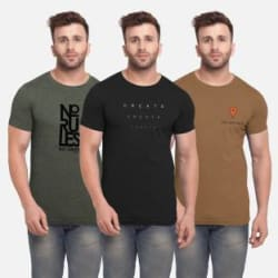 BULLMER Printed Men Round Neck Multicolor T-Shirt Pack of 3