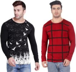 Weft Abstract, Checkered Men Round Neck Red, White, Black T-Shirt(Pack of 2)