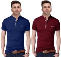 FastColors Solid Men Mandarin Collar Blue, Maroon T-Shirt Pack of 2