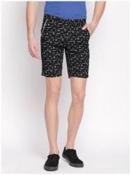 Fitz Men Cotton Blend Printed Chino Shorts Black