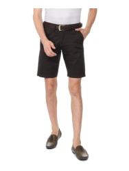 Allen Solly Black Cotton Comfort Fit Self Pattern Shorts