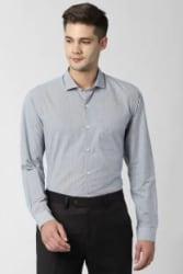 Peter England Men Self Design Formal Grey Shirt