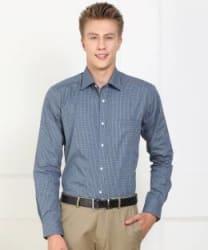 Raymond Men Checkered Formal Blue Shirt