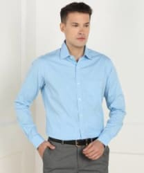 Raymond Men Self Design Formal Blue Shirt